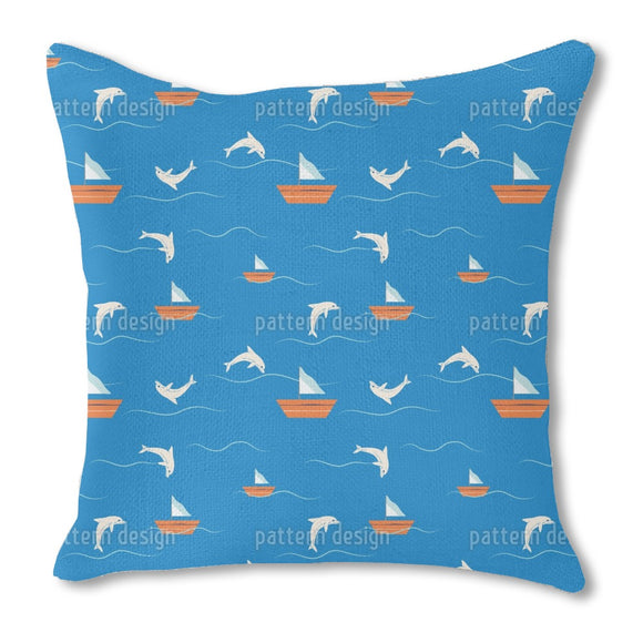 Dolphins and Sailing Burlap Pillow