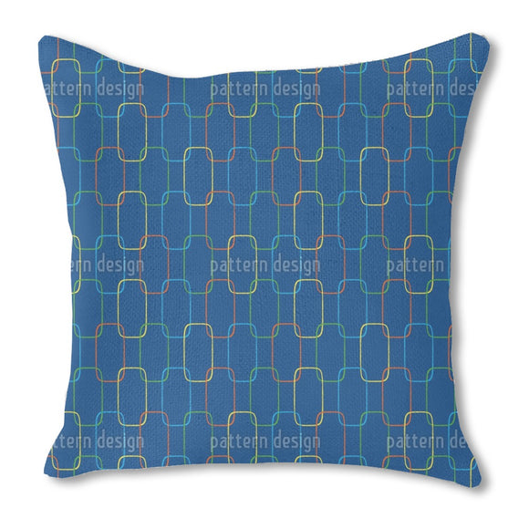 Geometric Chain Ornaments Burlap Pillow