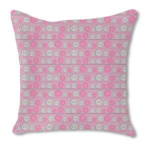 Cute Buttons Burlap Pillow