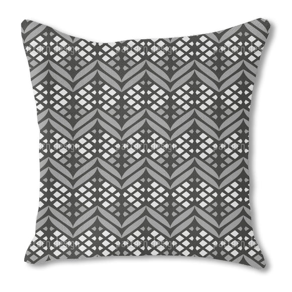 Latticed Bordures Burlap Pillow