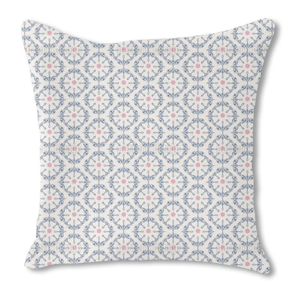 Symmetrical floral Ornaments Burlap Pillow
