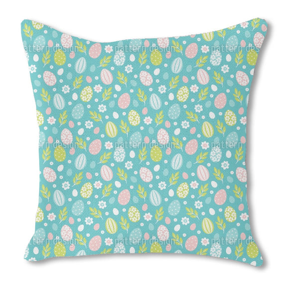 Easter Eggs In Spring Burlap Pillow