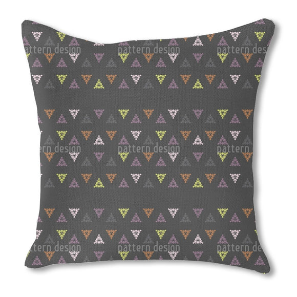 Floral Triangles Burlap Pillow