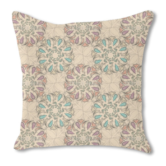 Filigree Magic Flower Burlap Pillow