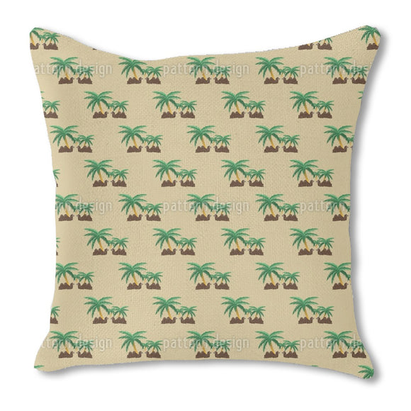 Camels in an Oasis Burlap Pillow