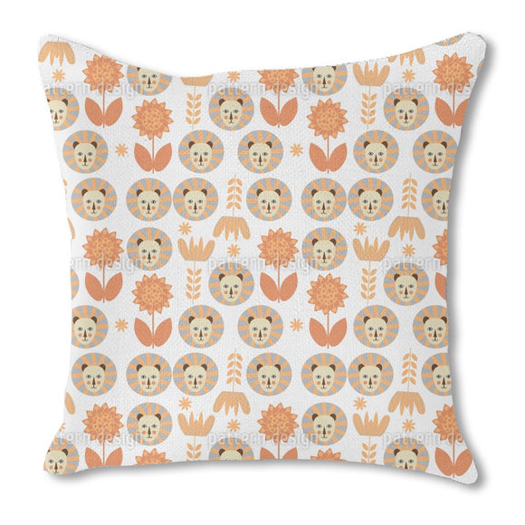 Lions in Savannah Burlap Pillow