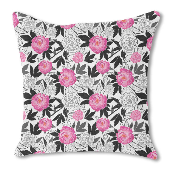 Colored And Pale Roses Burlap Pillow