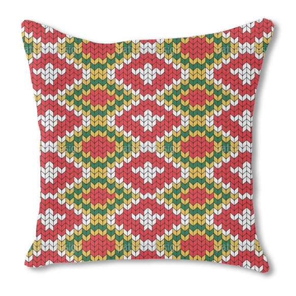 Knitted geometric Burlap Pillow