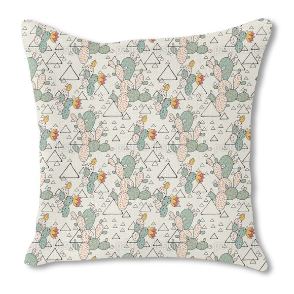 Prickly Pear Cacti and Triangles Burlap Pillow