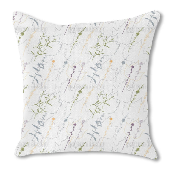 Herbs And Leaves Burlap Pillow