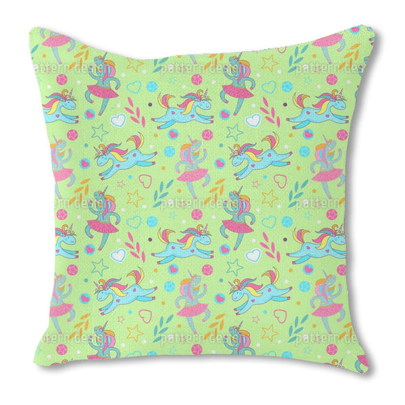 Cartoon Unicorns Burlap Pillow