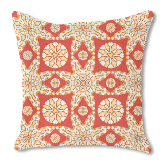 Fiery Star Burlap Pillow