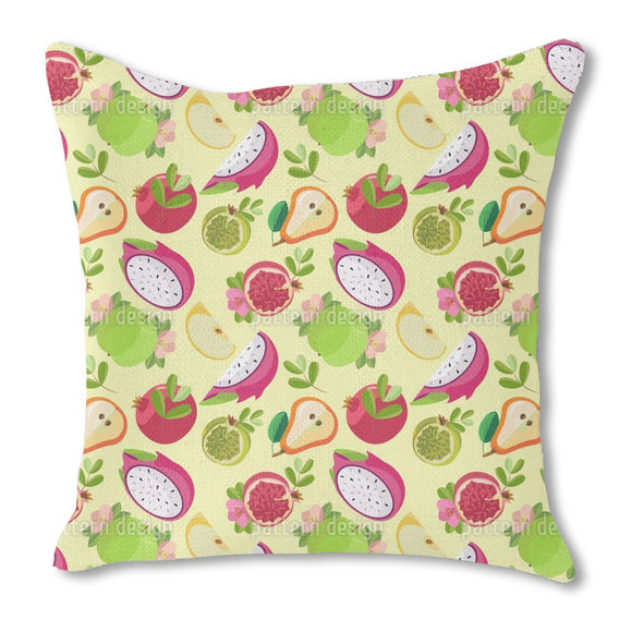 Colorful Fruit Bowl Burlap Pillow
