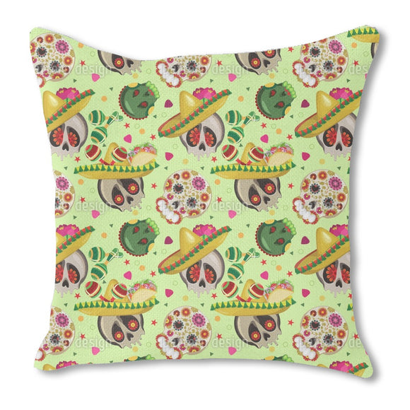 Mexican Sugar Skulls Burlap Pillow