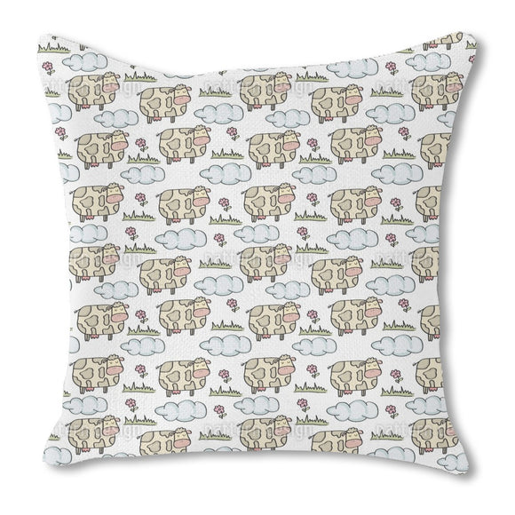 Grazing Cow Burlap Pillow