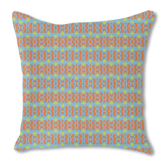 Chained Stripes with Triangles Burlap Pillow