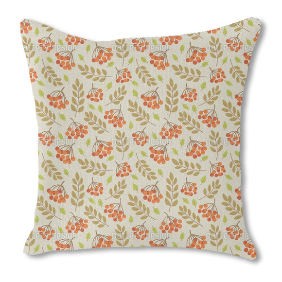 Sea Buckthorn Berries Burlap Pillow