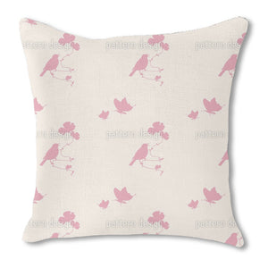 Animals In Spring Pink Burlap Pillow