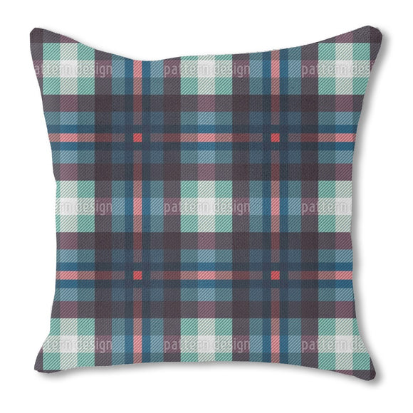 Deep Sea Tartan Burlap Pillow