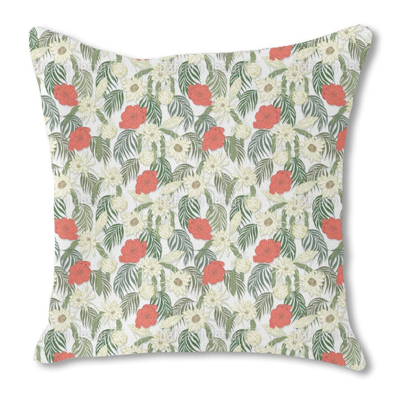 Tropical Garden Flora Burlap Pillow