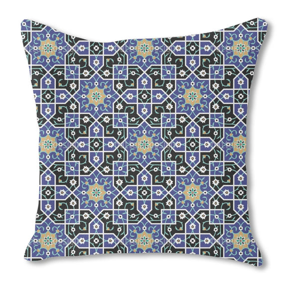 Moorish Flower Twists Burlap Pillow
