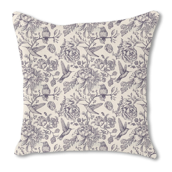 Colibri and Flowers Burlap Pillow