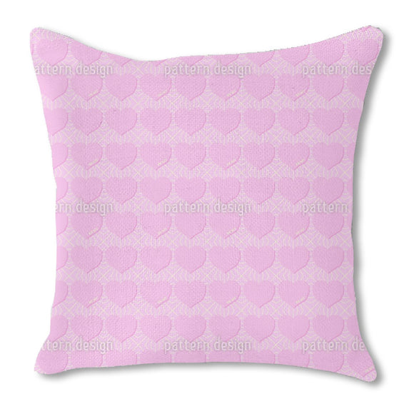 Angular Hearts Burlap Pillow