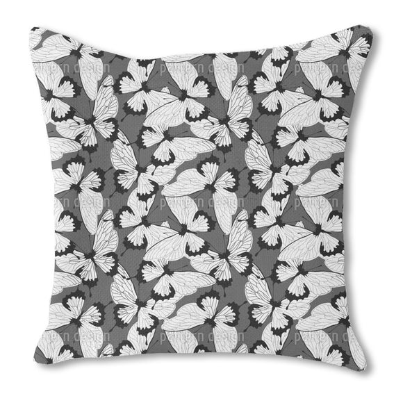 Mono Butterflies Burlap Pillow