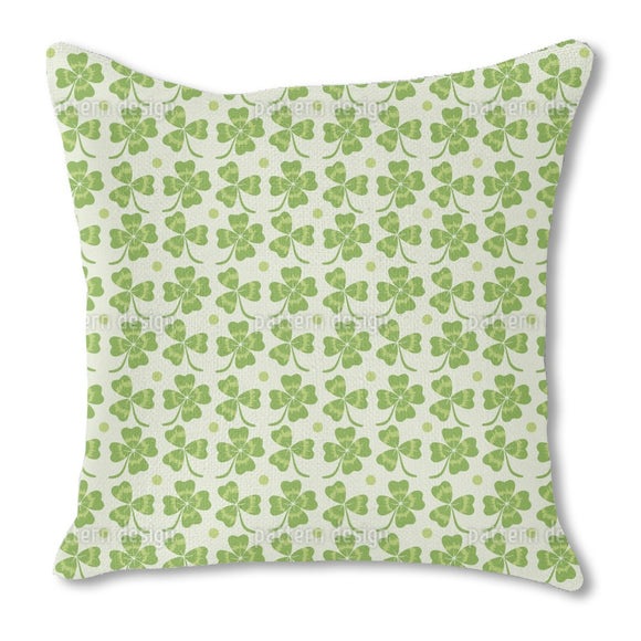 Patricks Clover Burlap Pillow