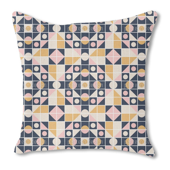 Tiled Mosaics Burlap Pillow