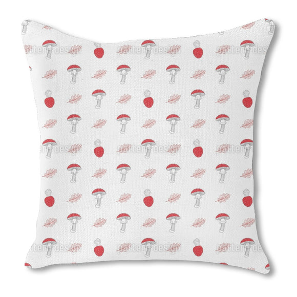 Fly Agarics And Oak Leaves Burlap Pillow