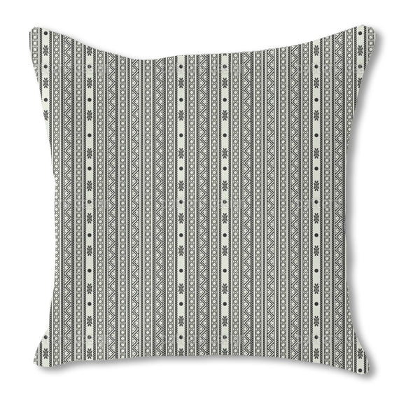 Ethno Abstract Stripes Burlap Pillow