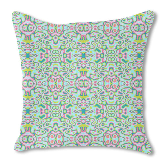 Trippy Kaleidoscope Burlap Pillow