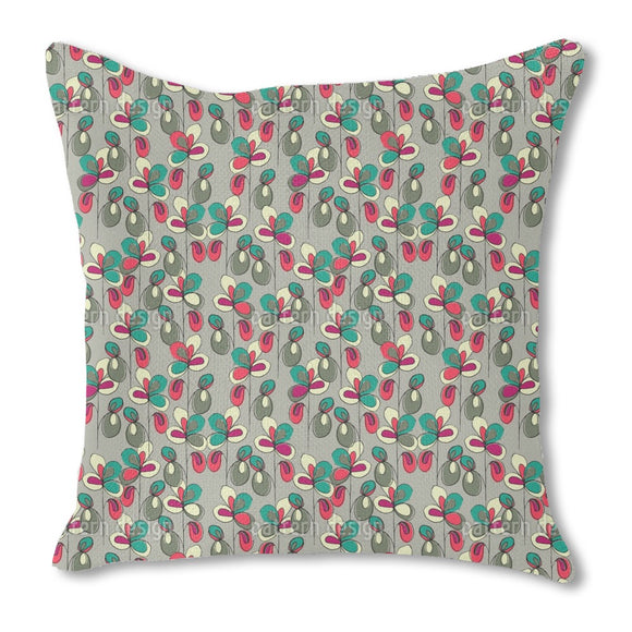 Lucky Flowers Grey Burlap Pillow