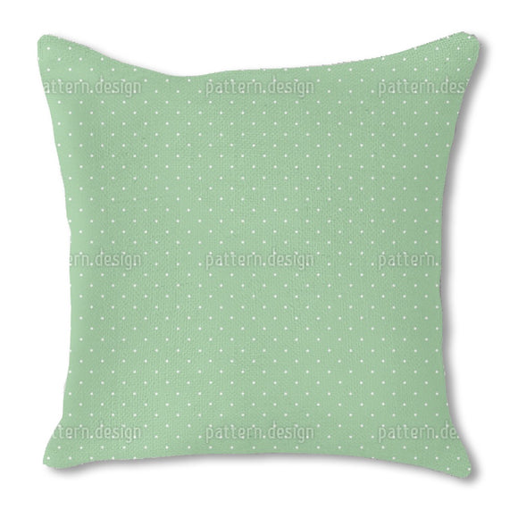 Dots On Green Burlap Pillow