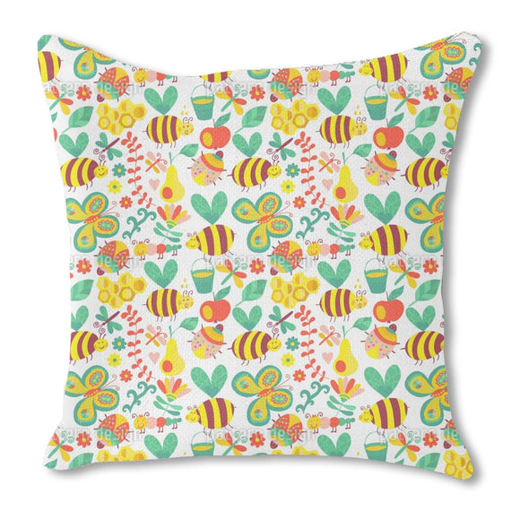 Busy Honey Bees Burlap Pillow
