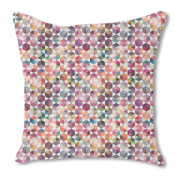 Hexagon Facets Burlap Pillow