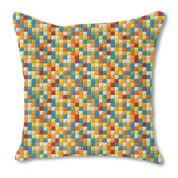 Mosaic Blocks Burlap Pillow