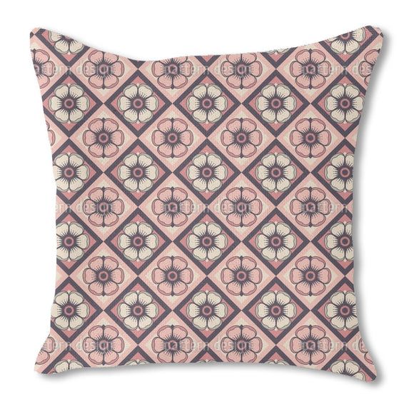 Checkerboard Floralia Burlap Pillow