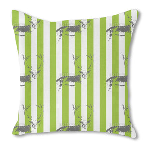Deer In The Stripe Forest Burlap Pillow