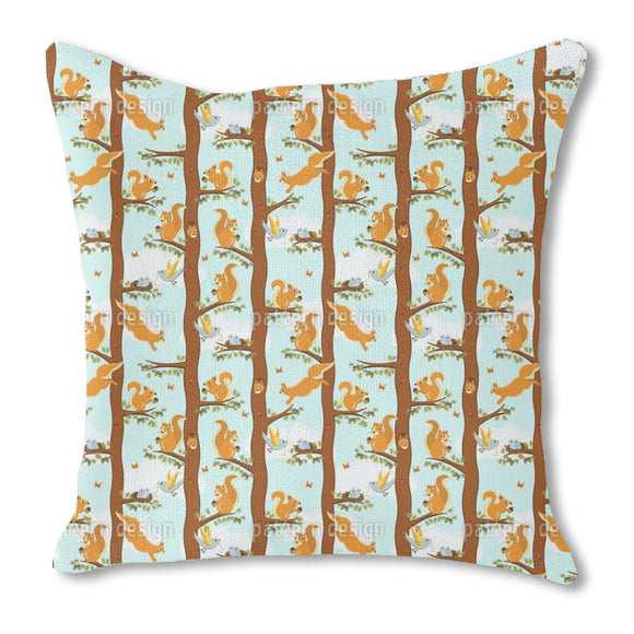Squirrel Party Burlap Pillow