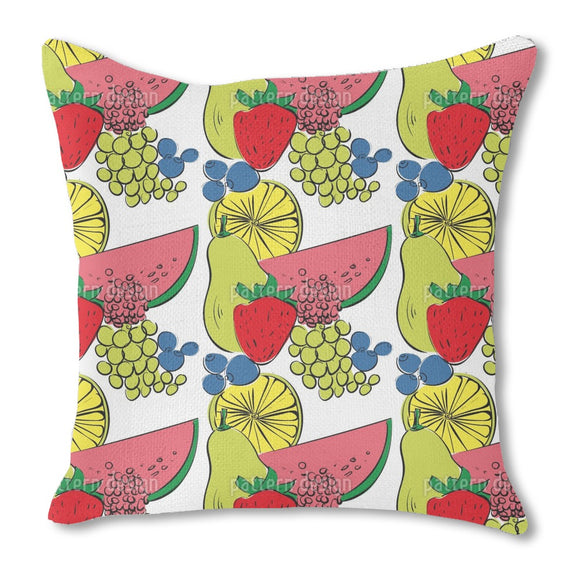 Fruit Cocktail Burlap Pillow