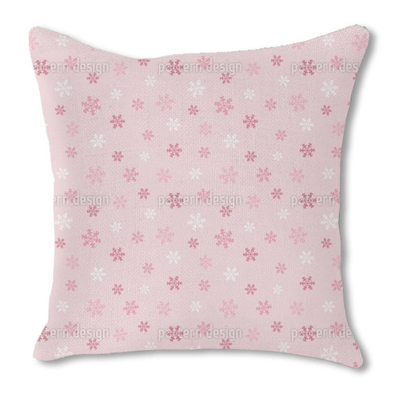 Winter Snowflake Love Burlap Pillow