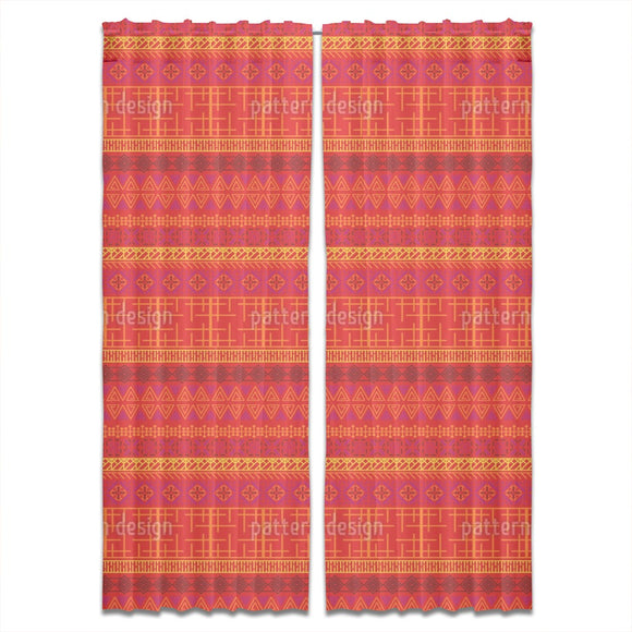 Embroidered African Motifs Curtains