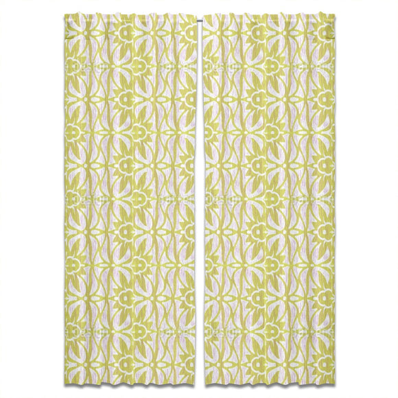 Ikat And Floral Tendrils Curtains