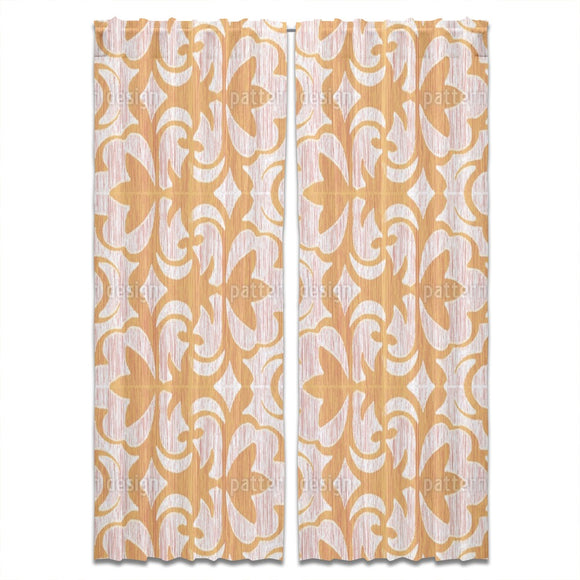 Ikat And Flower Plants Curtains