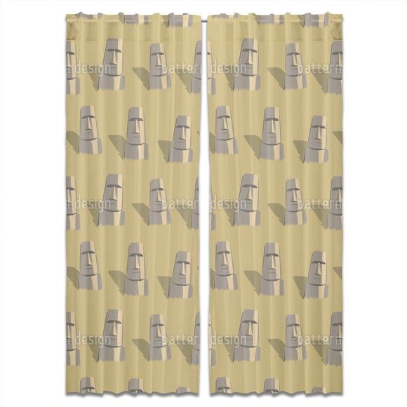 Faces Of Easter Island Curtains