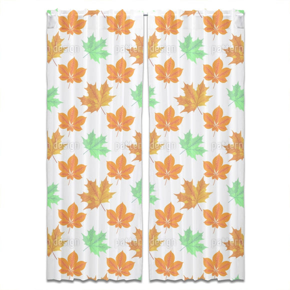 Autumn Leaves Grid Curtains