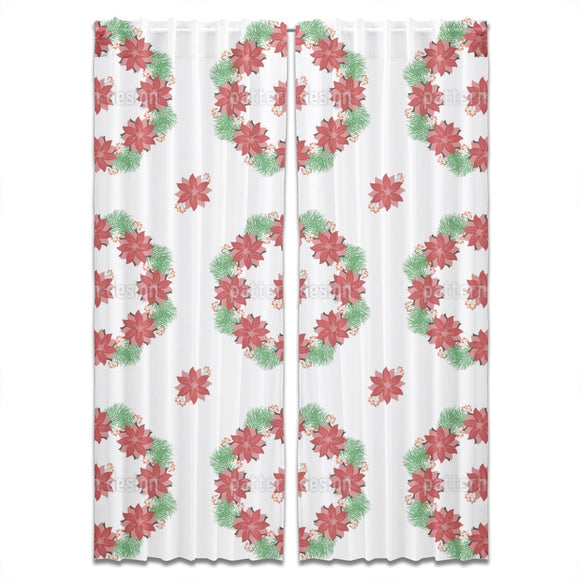 Poinsettia Wreath Curtains
