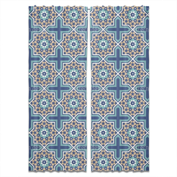 Moroccan Star Tiles Curtains